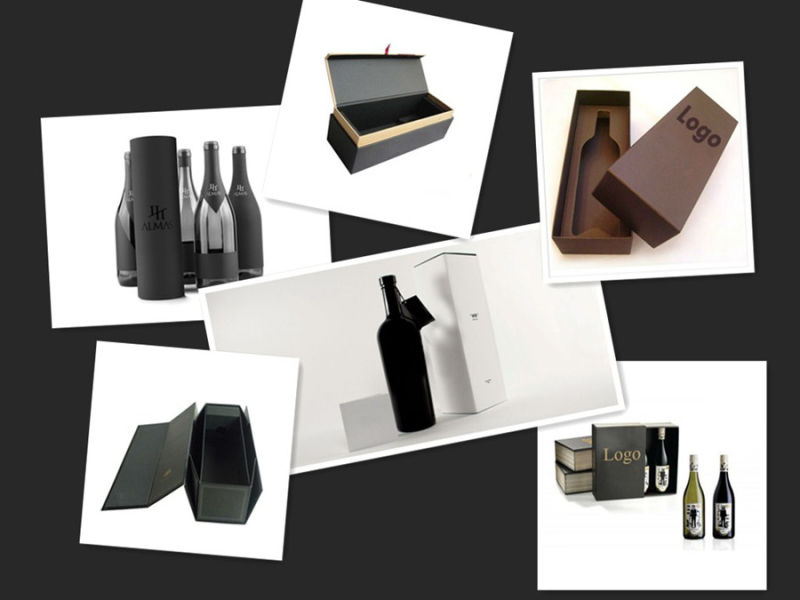 Black Printed Paper Wine Packaging Boxes with Insert