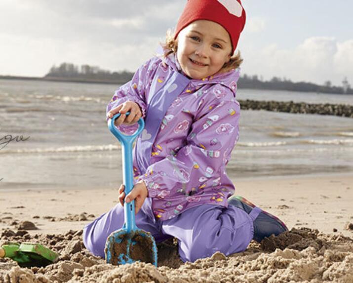 Semi PU Fleece Warm Kid Overall Raincoat