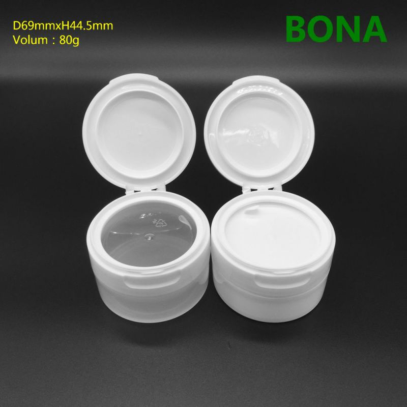 80g White Plastic Jar with Flip Top Cap