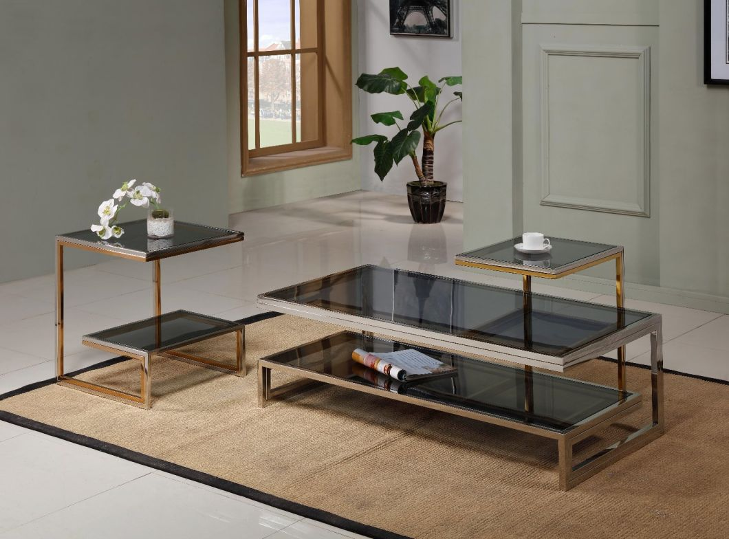 Minimalist Modern Style Tempered Glass Coffee Table