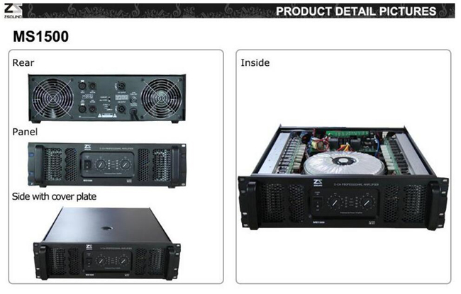 Zsound Ms1500W Professional Fixed Installation Speaker Power AMPS