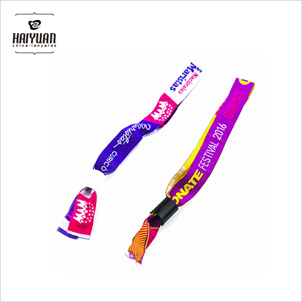 Customized Event /Festival Woven Fabric Wristband with Lock