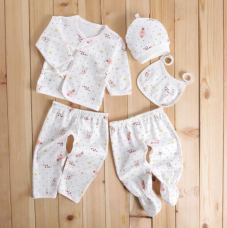 Cotton Printed Newborn Baby Clothes 5PCS