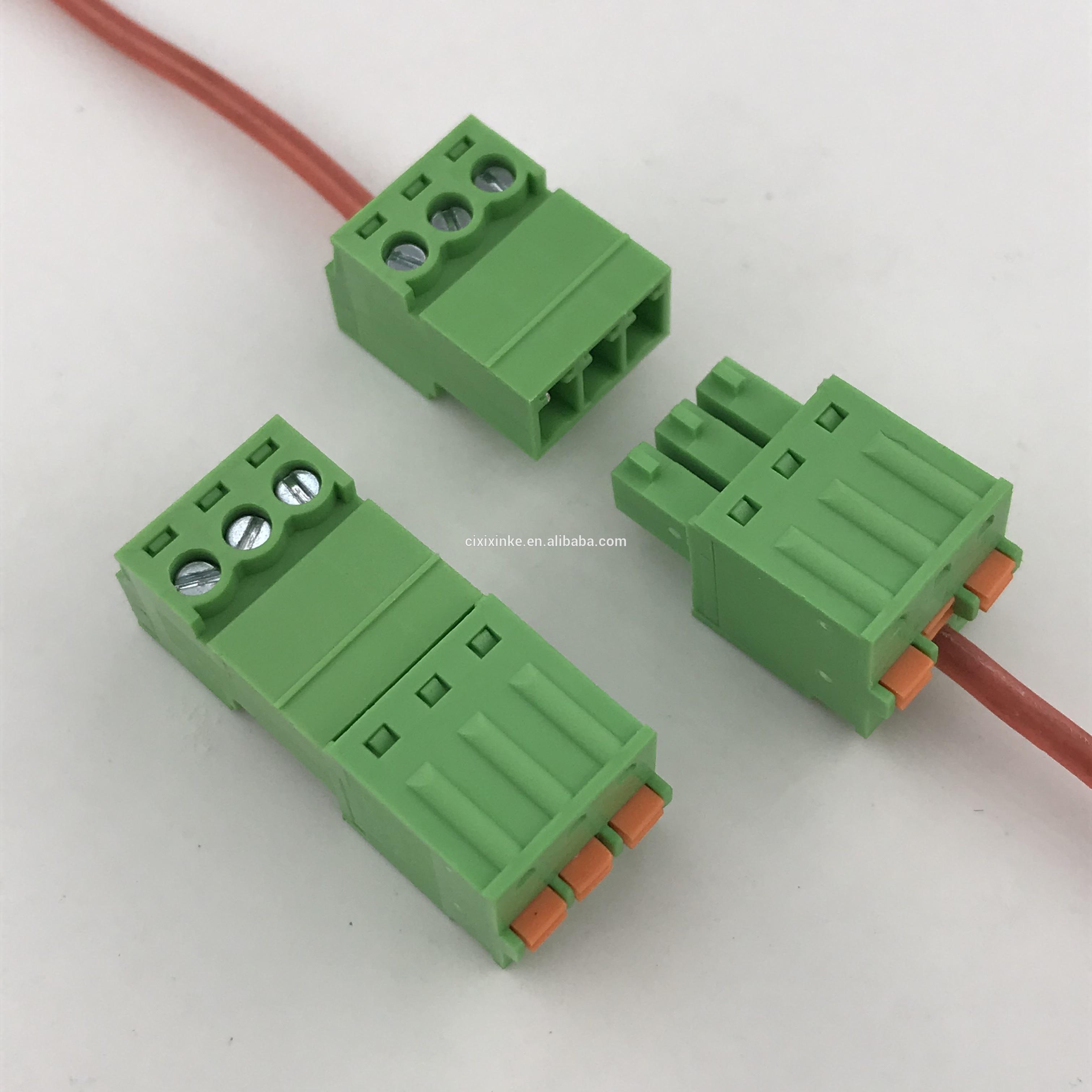 3.81 pitch 3 pin spring pluggable terminal block