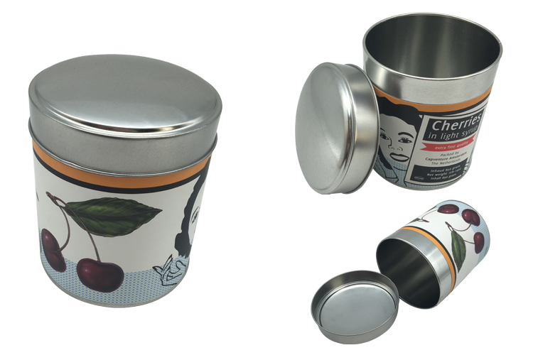 Paper Sticker No Pritning Tin Box Food Tin Container Box