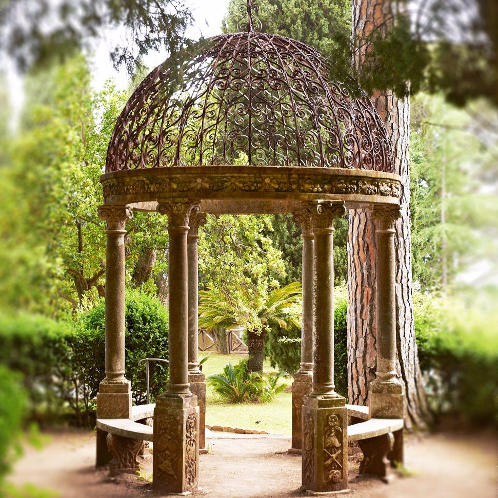 Beige Marble Stone Gazebo with Cast Iron Roof