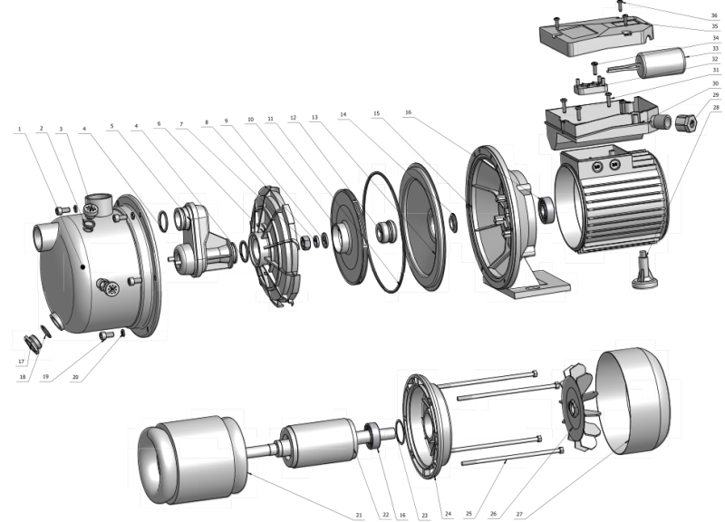Stainless Steel Pump Body 1.0HP STP50 Self-Priming Jet Water Pumps