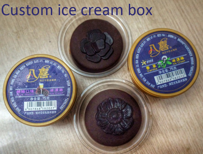 Custom Logo Printed Plastic Ice Cream Cup (PP box)
