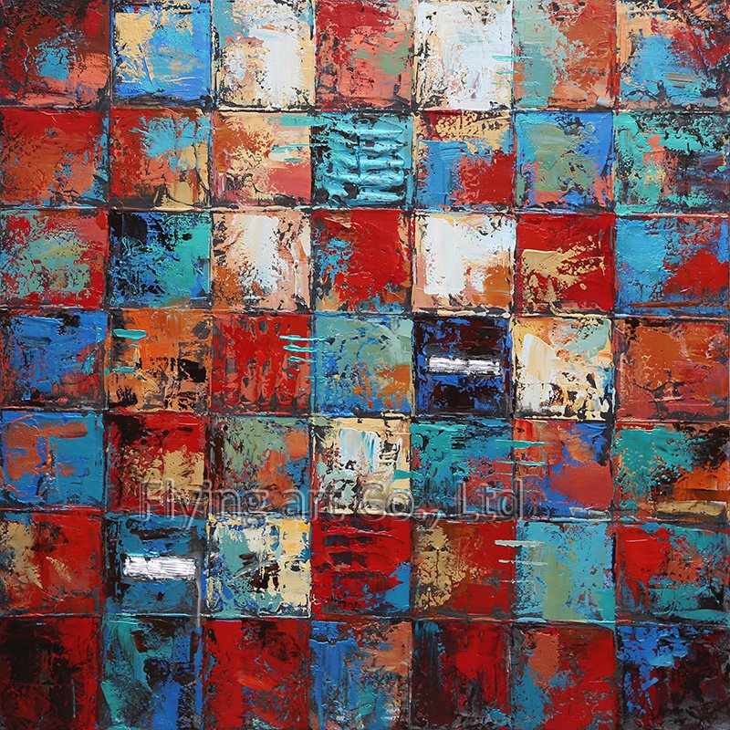 Abstract Wood Panel Oil Painting