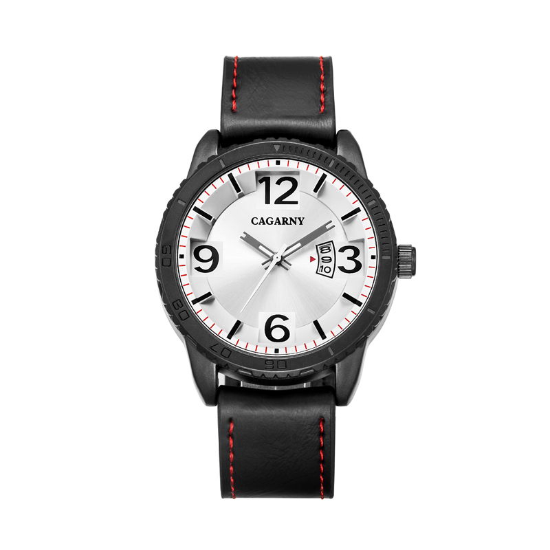 2017 New Fashion Wristwatch 46mmcase IP Plating Colored Black Leather Strap