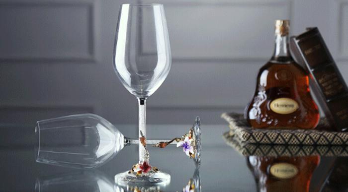 460ml LEED-Free Crystal Enamel Diamond Deraction Glass Goblet