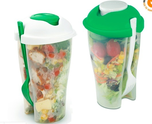 Plastic Salad Tumblers with Fork