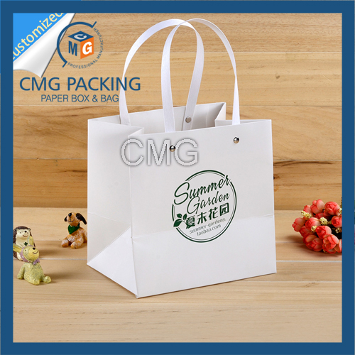 Rivet Handle Paper Bag with Plastic Handle (CMG-MAY-042)
