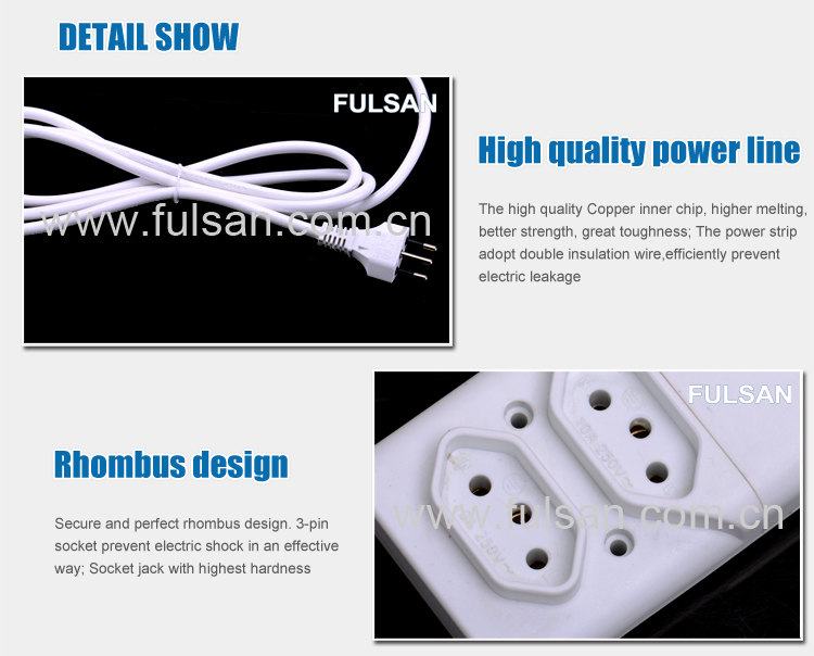 High Quality 2 Gangs Removable Extension Power Strip 6FT 1.83m