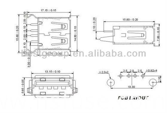 Fbusba2-112 RJ45 Mini USB Connector USB B Type Connector Dual USB Connector (FBELE)