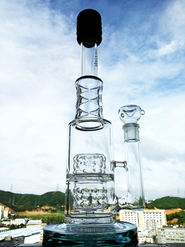 New Design 17 Inch Height Tire Perc Borosilicate Glass Water Pipe