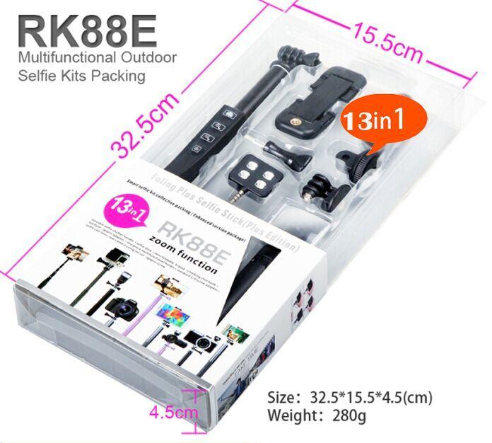 Bluetooth Selfie Stick Monopod Selfie Kits Pack Zoom Button Momopod Rk88e (OM-RK88E)
