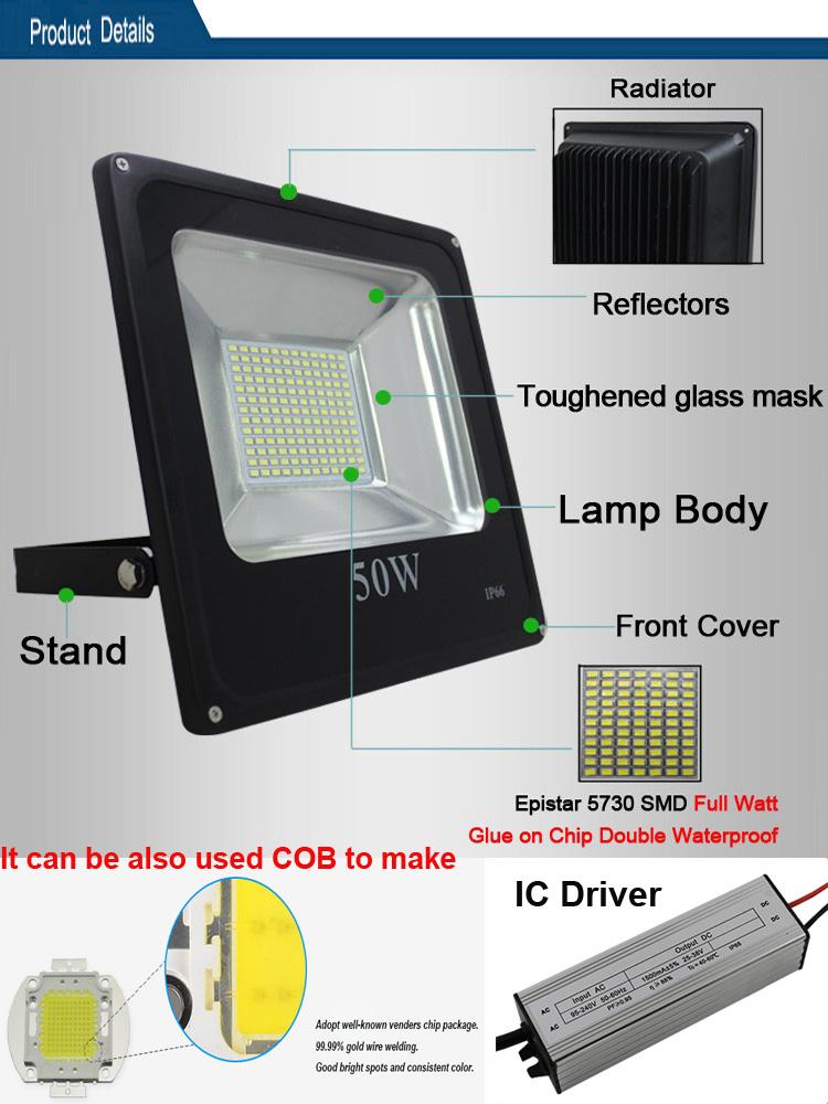 2700k 3000k 3500k 4000k 6000k 6500k 7000k LED Floodlight