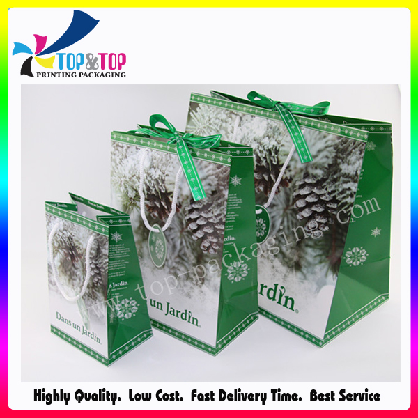 with Ribbon Handles Foldable Shopping Fancy Paper Gift Bag