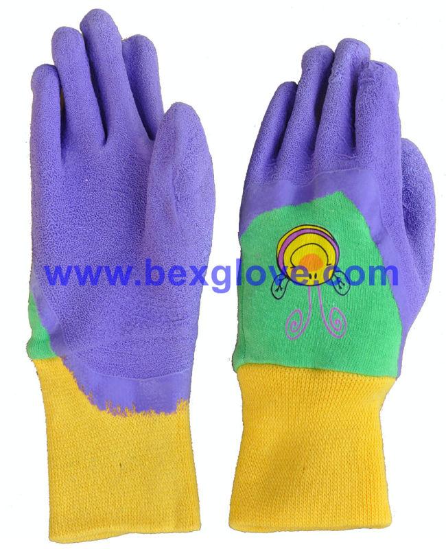 Color Latex Coated Pretty Garden Glove for Children