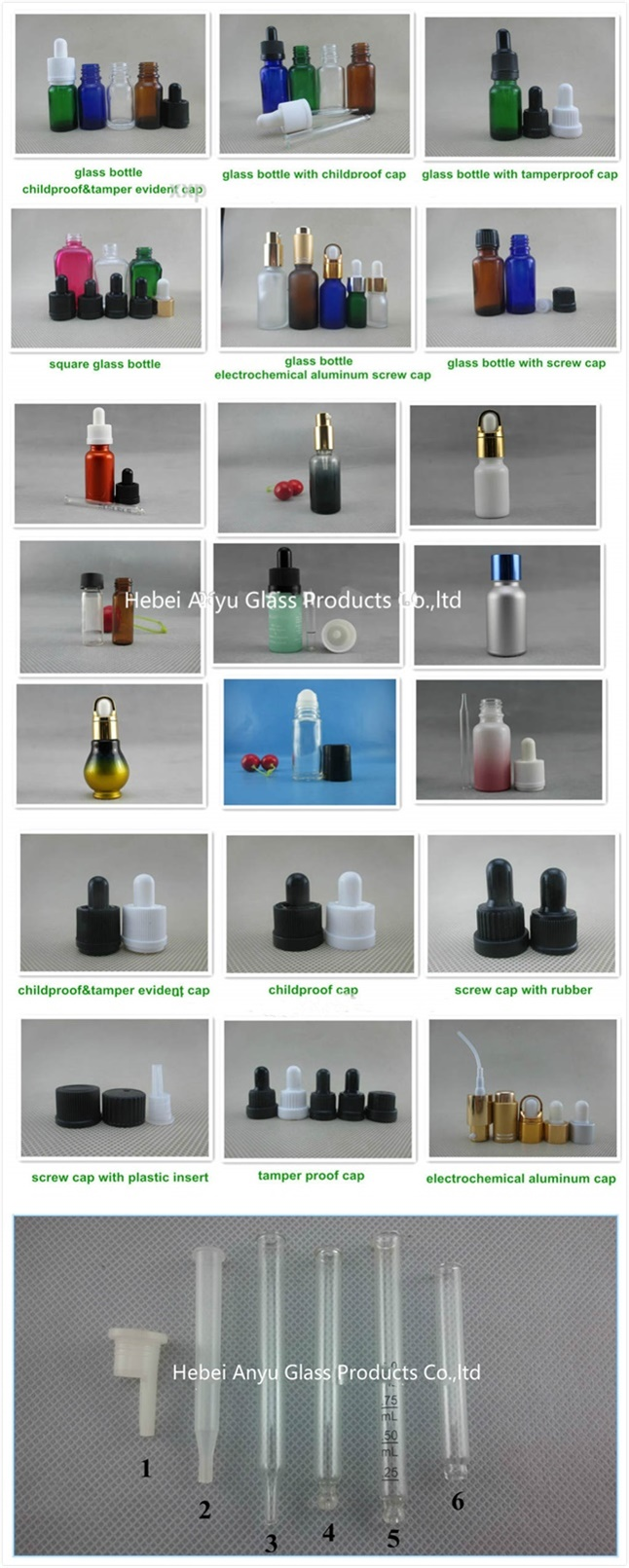 Industrial Use 60ml Clear Glass Oil Bottle with Roller Ball