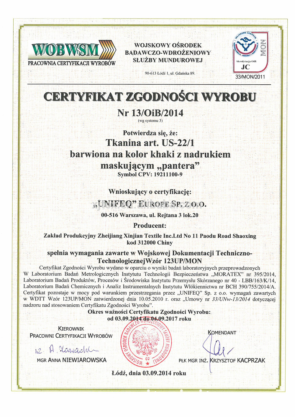 License from Polish army