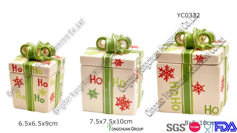 Christmas Ceramic Cookie Jar Set on Promotion (YC0332)