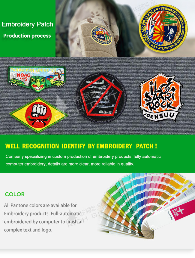 Wholesale Custom 3D Logo Clothes Woven Embroidered Badge Emblem Fabric Trimming Neck Military Army Flag School Textile Police Label Pin Garment Embroidery Patch