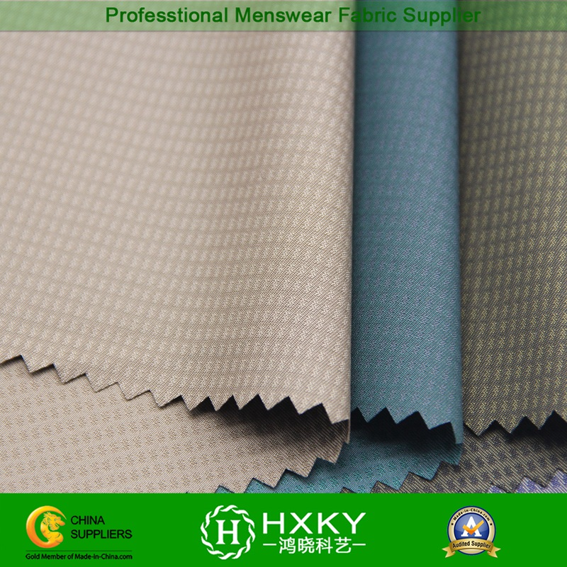 Phantom Checks Dobby Polyester Fabric with Cation Fiber for Jacket