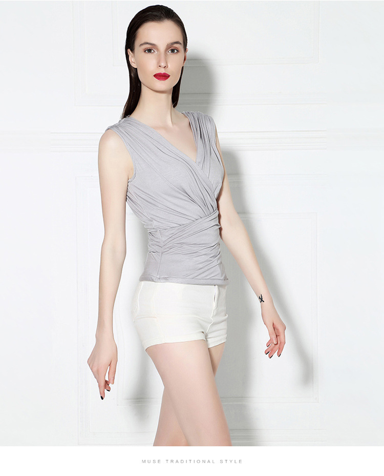 New Fashion V-Neck Sleeveless Blouse Wild Wrapped Chest Vest Bottoming Slim Nightclub Sexy Gauze Ruffle Blouse