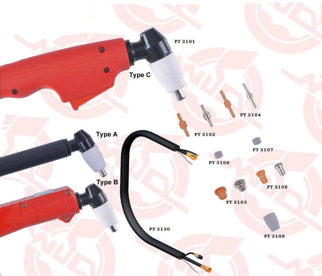JTM-W01-PT31-A01R PT31 Plasma high frequency cutting Torch with switching and TypeA handle and red copper color parets