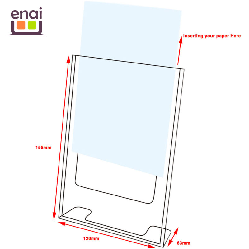 Vertical Advertisement Displayer Plastic Card Stand with Injection Mold Producing