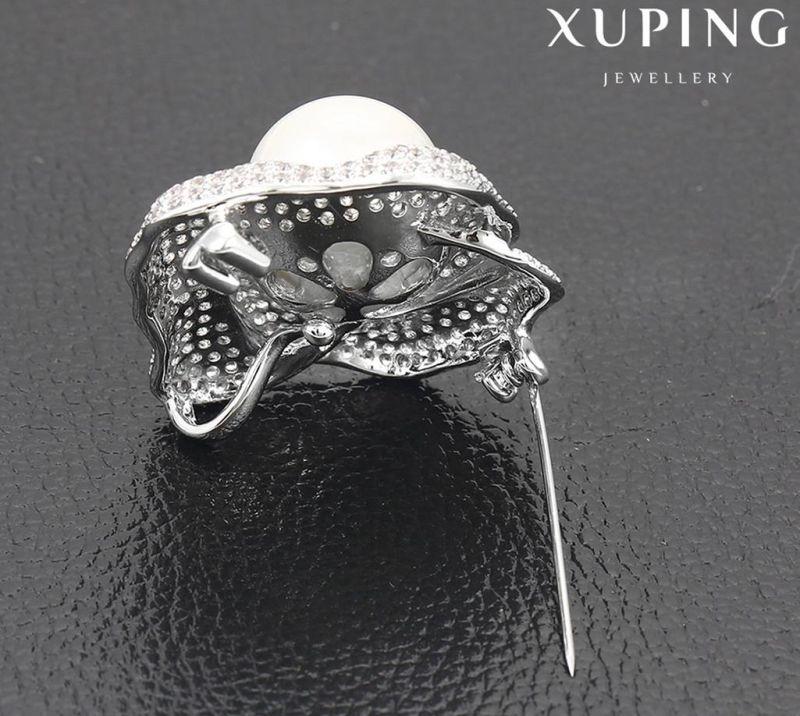 00036 Fashion Elegant Pearl Jewelry Brooch in Rhodium Color
