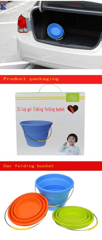 Fishing Tools Silicone Folding Bucket for Car Travel and Fishing