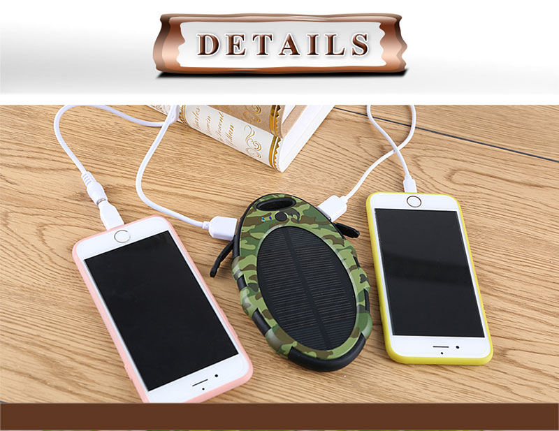 High Capacity 5000mAh Solar Power Bank Waterproof Solar Power Bank