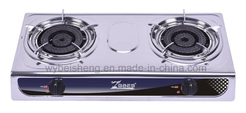 Double Burner Gas Stove, Bigger Fire, Stainless Steel