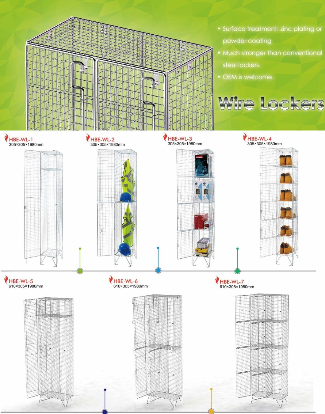 Two Tiers Wire Mesh Locker