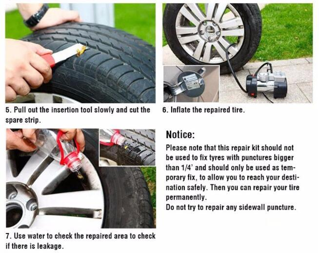 Car Bike Auto Tubeless Tire Tyre Puncture Plug Repair Tool Kit