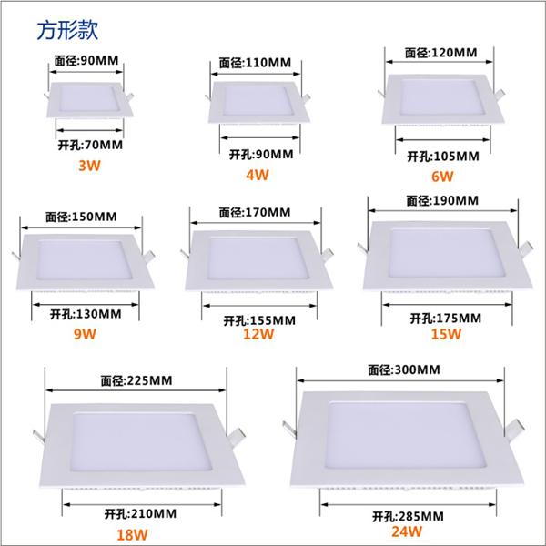 Square LED Flat Panel Light 6W 80lm/W