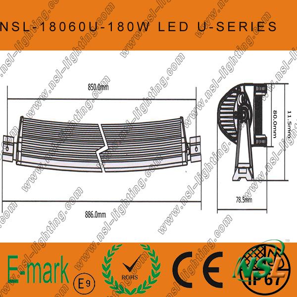 180W LED Curved CREE-U Series Light Bar, 60PCS*3W LED Waterproof Light Bar off Road Driving