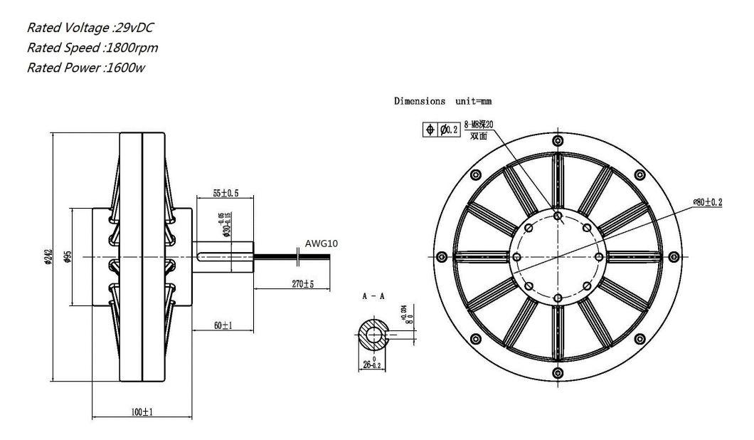 2018 New Designs Coreless Permanent Magnet Generator 48V1750rpm1950W