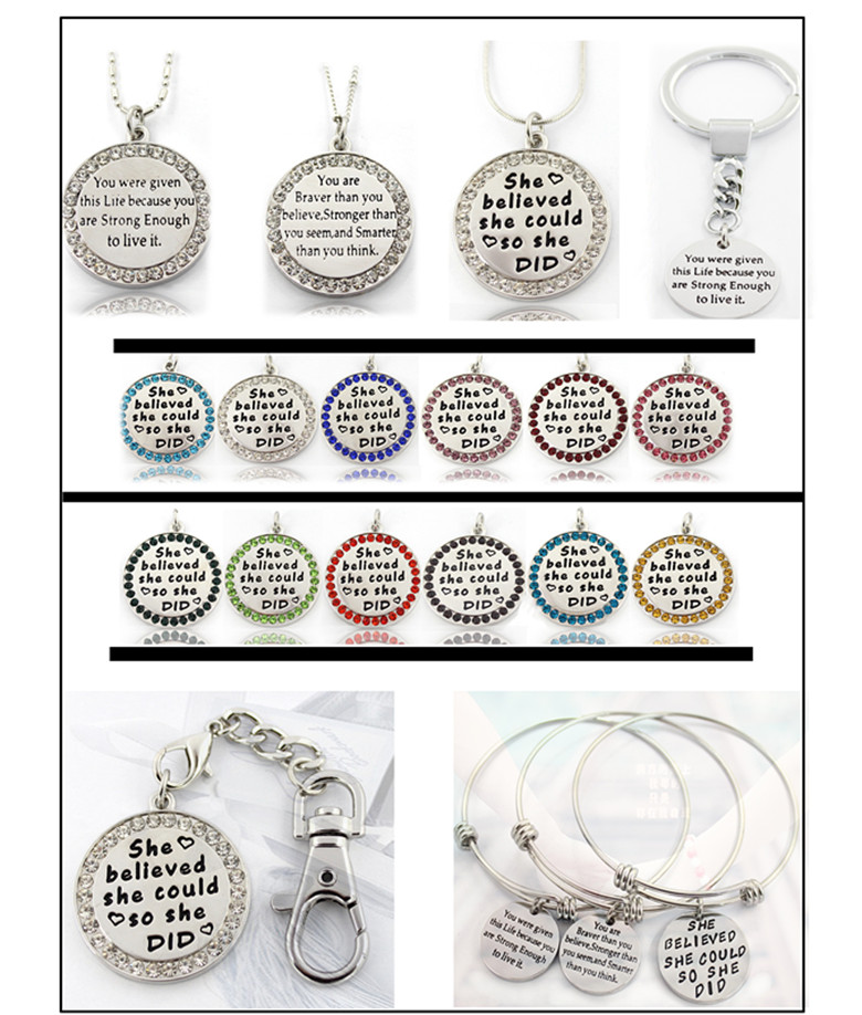 30mm Silver Round Free Engraved Custom Logo Jewelry Plates Necklace