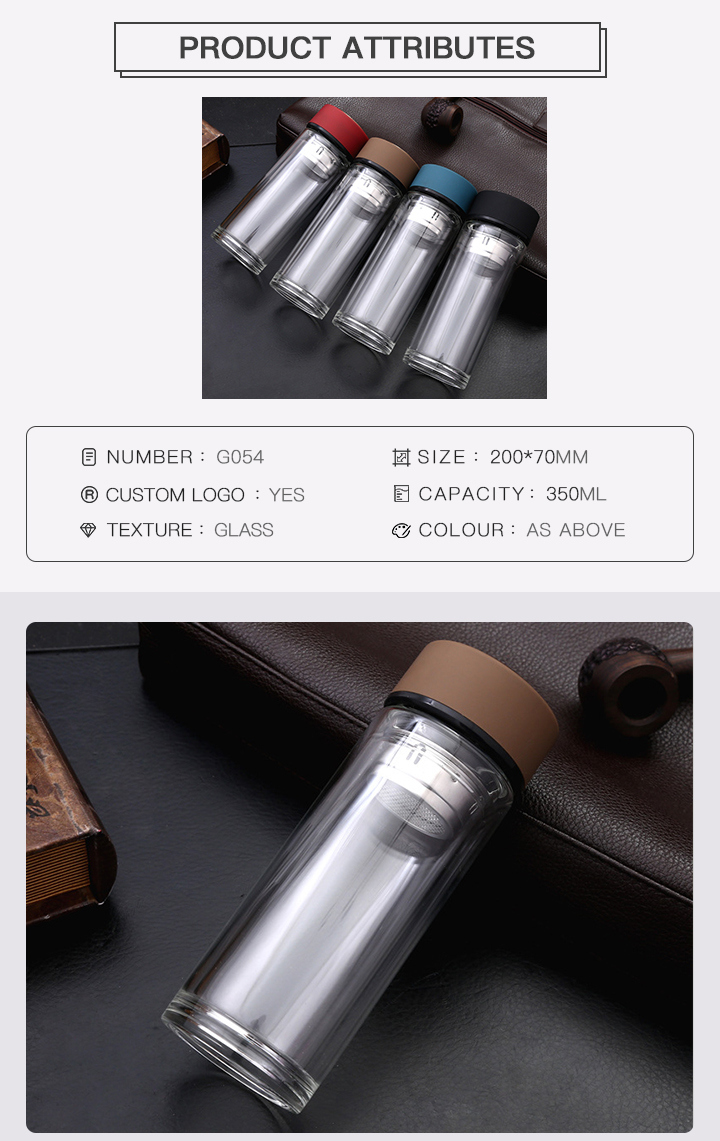 Tea Infuser Borosilicate Glass Water Bottle with Lid, Portable Tumbler