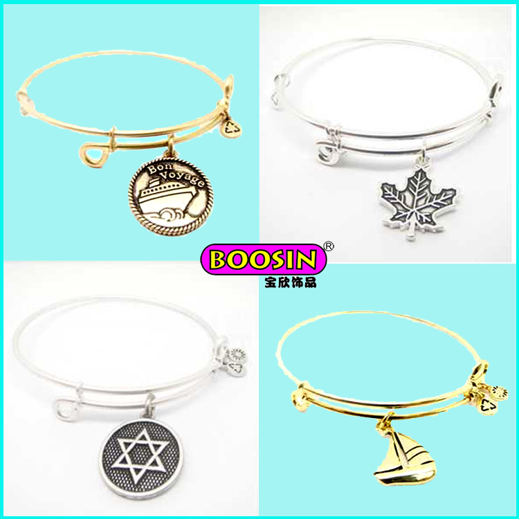 Custom Cheap Zinc Alloy Silver Engrave Letter Charms Wire Bangle