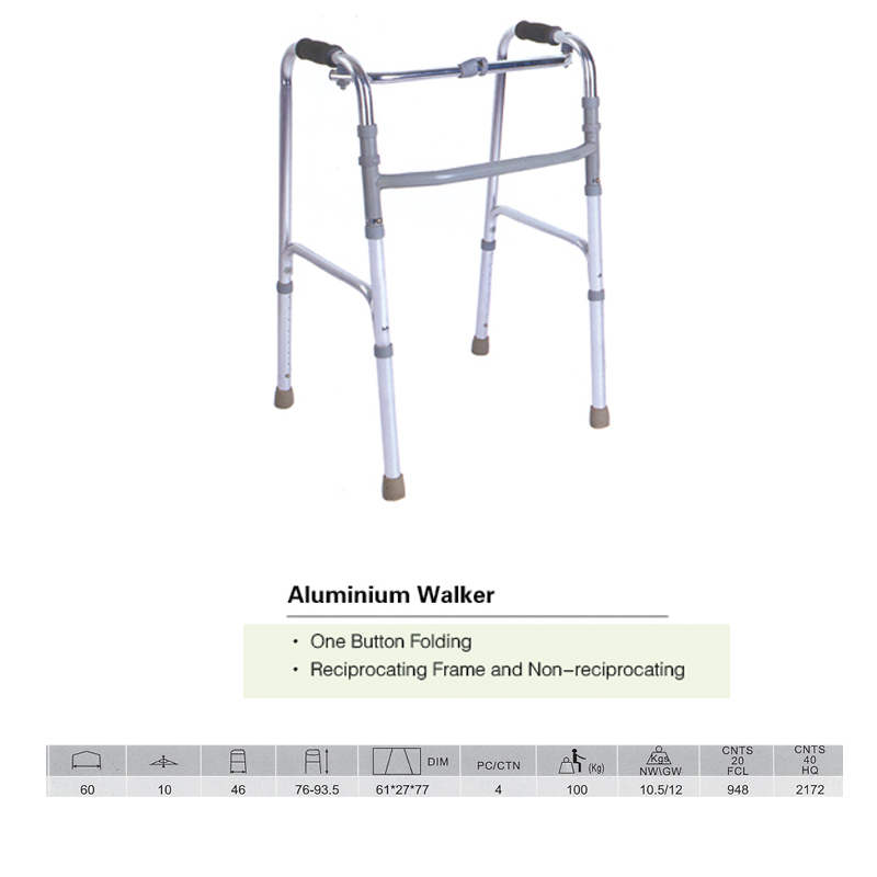 One Button Folding Walker