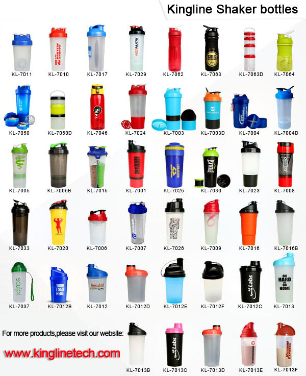 BPA Free 700ml Plastic Protein Shaker Bottle with Plastic Blender (KL-7009)