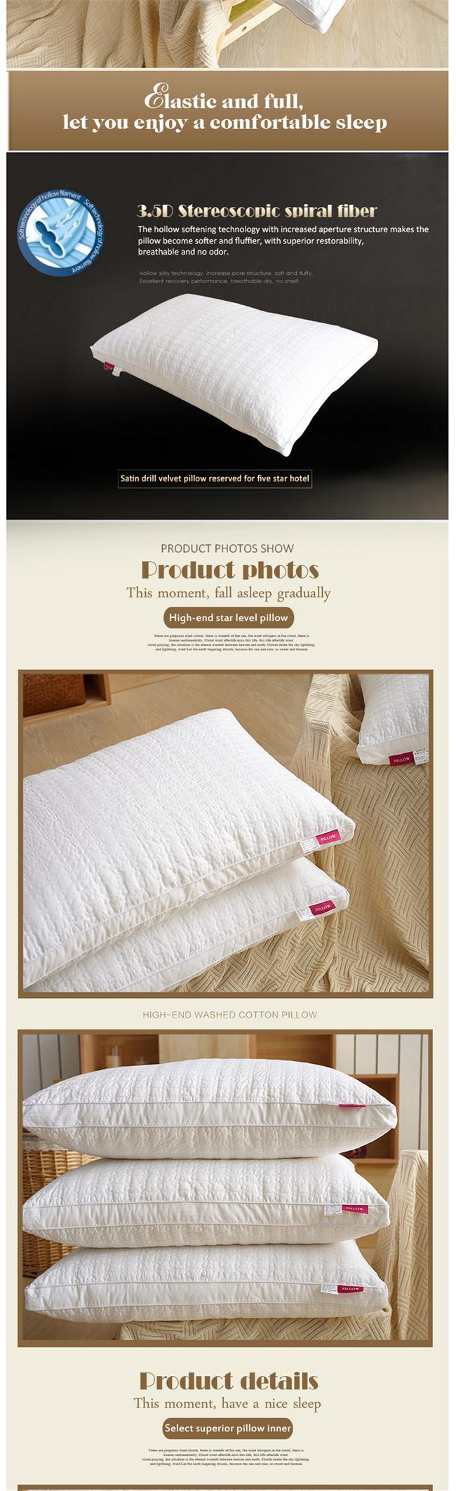 Best Selling Premium Hypoallergenic Stuffer Insert Polyester Hotel Bed Pillow