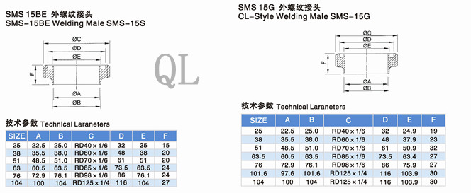 Sanitary Stainless Steel Fitting SMS Union Parts 15r Welding Male