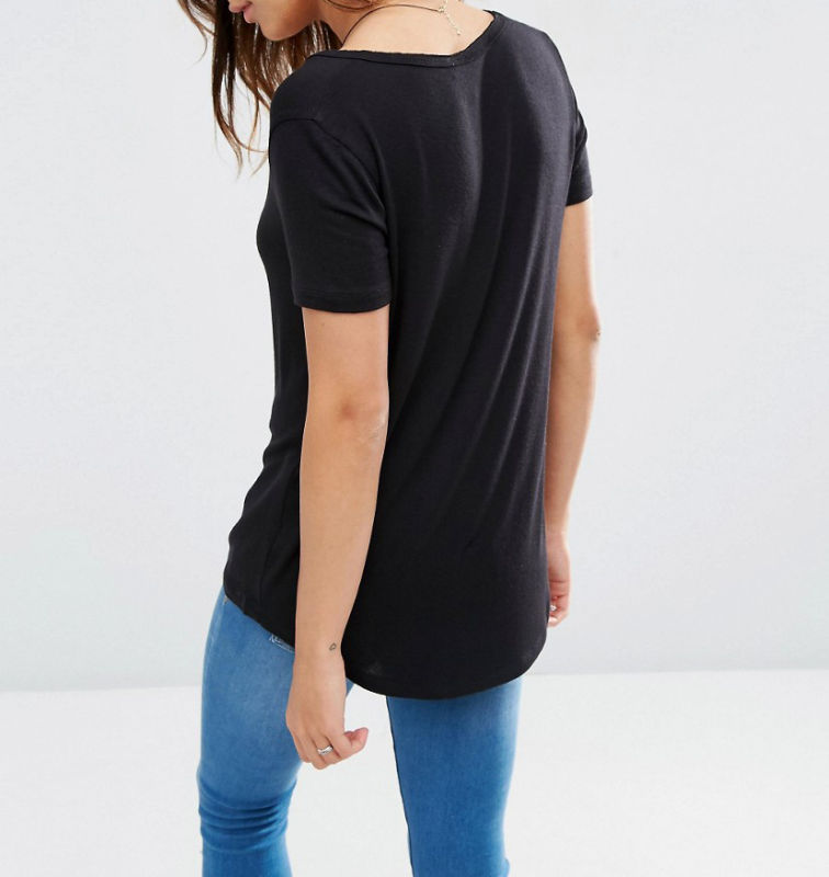 Custom Viscose V Neck Short Sleeves and DIP Back Women T-Shirt