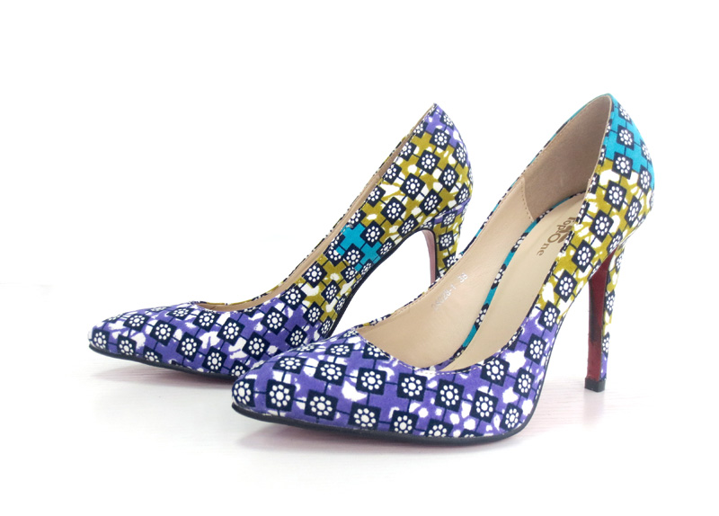 New Design African Wax Printed Fabrics Shoes with Bags (Y 61)